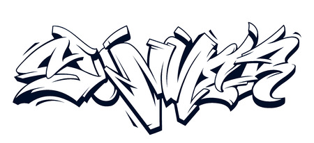 Summer Graffiti Vector Original Lettering. Summer word written in graffiti wild style monochrome vector illustration isolated on white.