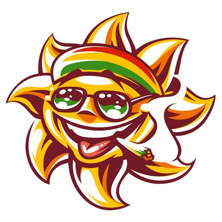Kunst van gelukkige zon in rastaman gekleurde hoed, zonnebril en spliff in mond. Ganja roken grappig zon karakter. Vector kunst geïsoleerd op wit.