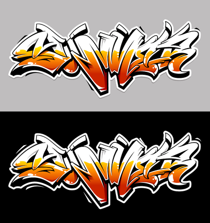 Summer Graffiti Vector Original Lettering. Summer word written in graffiti wild style vector illustration. Bright contrast summer graffiti art.