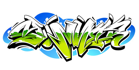 Summer Graffiti Vector Original Lettering. Summer word written in graffiti wild style vector illustration. Bright contrast summer graffiti art isolated on white.