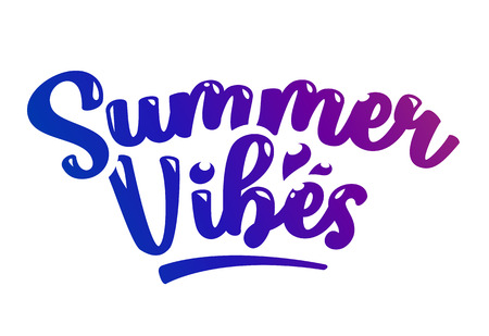 Summer Vibes Vector Calligraphic Lettering isolated on white.