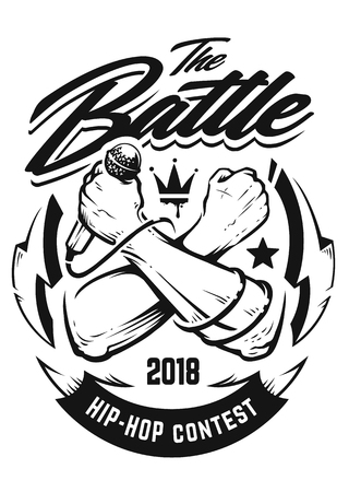 Hip-hop monochrome emblem with crossed brutal hands keeping microphone. Rap battle emblem template with hip-hop and graffiti elements. Vector art.