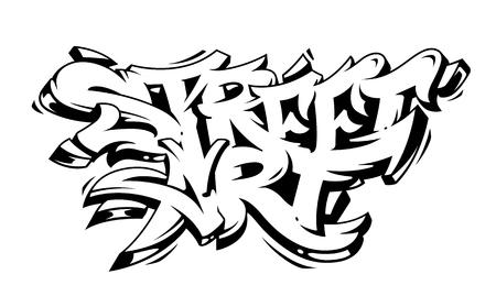 Street Art Graffiti Vector Lettering isolated on white. Wild style graffiti monochrome vector art.