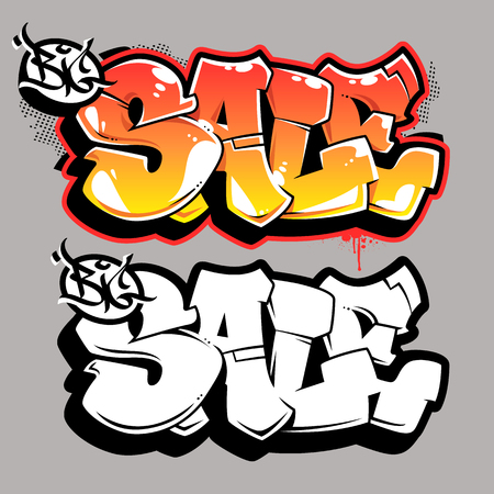 Big Sale bubble style old school graffiti lettering on grey background. Vector graffiti words Big Sale. Color and monochrome versions.
