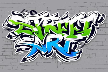 Vibrant color street art graffiti lettering on grey brick wall background. Wild style vibrant graffiti art vector illustration. Ilustração