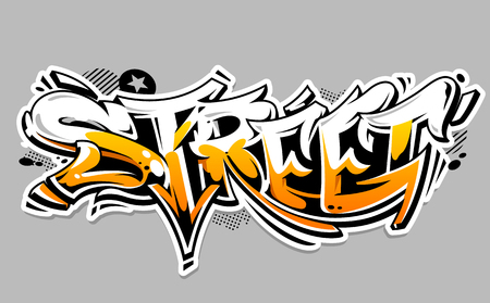 Street Graffiti Vector Lettering isolated on white. Wild style graffiti color vector art.