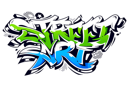 Vibrant color street art graffiti lettering isolated on white. Wild style vibrant graffiti art vector illustration. Stock Illustratie