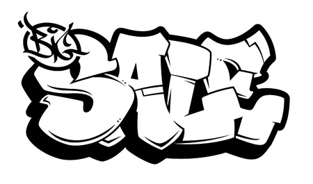 Big Sale bubble style old school graffiti lettering on white background. Monochrome vector graffiti words Big Sale.