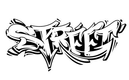 Street Graffiti Vector Lettering isolated on white. Wild style graffiti monochrome vector art. Illustration