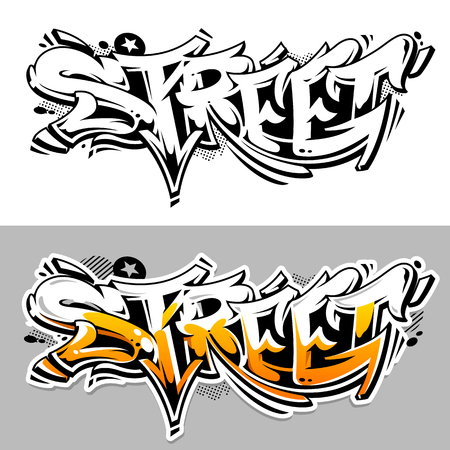 Street Graffiti Vector Lettering abstract three dimensional art. Monochrome and color variations. Wild style graffiti vector art.