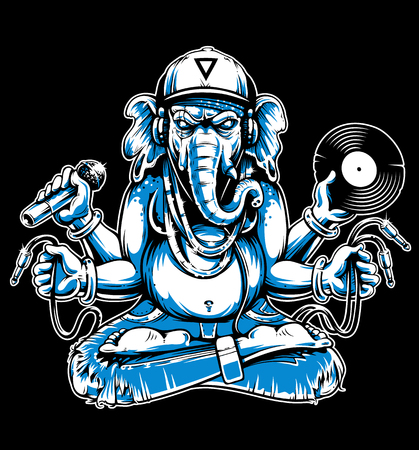 Ganesha with musical attributes: headphones, vinyl record, microphone and wires in hands. Ganesha b-boy weared in snapback and jeans. Cool vector illustration of ganesha. Two colors variation: white and blue. Isolated on black.