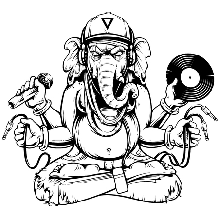 Ganesha with musical attributes: headphones, vinyl record, microphone and wires in hands. Ganesha b-boy weared in snapback and jeans. Cool vector illustration of ganesha. Monochrome line art. Stock Illustratie