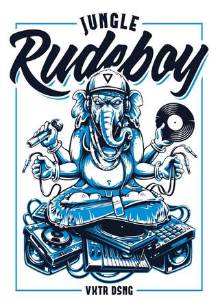 Disegno di stampa vettoriale di Jungle Rude Boy. Ganesha Dj seduto su materiale musicale elettronico arte vettoriale Ganesha in snapback, jeans e cuffie tiene in mano microfono, dischi in vinile e fili, seduto su un mucchio di dispositivi musicali elettronici. Vettoriali