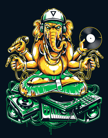 Ganesha Dj Sitting on Electronic Musical Stuff vector art. Ganesha in snapback, jeans and headphones keeping microphone, vinyl record and wires in his hands sitting on a bunch of electronic musical devices. Toxic graffiti colors variation. Illusztráció