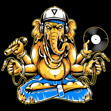 Ganesha with musical attributes: headphones, vinyl record, microphone and wires in hands. Ganesha b-boy weared in snapback and jeans. Cool vector illustration of ganesha. Yellow and blue colors version. Иллюстрация