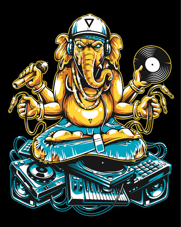 Ganesha Dj Sitting on Electronic Musical Stuff vector art. Ganesha in snapback, jeans and headphones keeping microphone, vinyl record and wires in his hands sitting on a bunch of electronic musical de