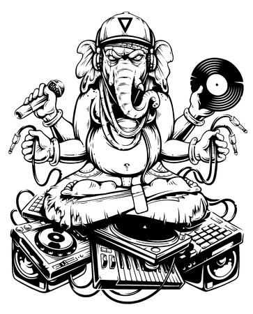 Ganesha Dj Sitting on Electronic Musical Stuff vector art. Ganesha in snapback, jeans and headphones keeping microphone, vinyl record and wires in his hands sitting on a bunch of electronic musical devices. Monochrome line art vector illustration.