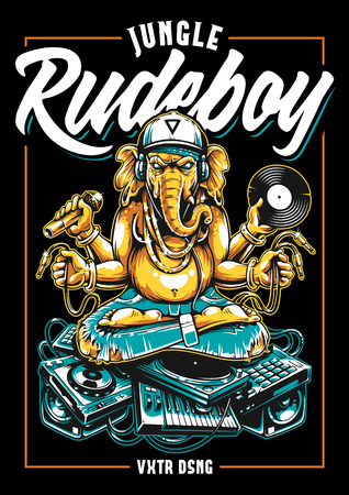 Jungle Rude Boy vector print design. Ganesha Dj Sitting on Electronic Musical Stuff vector art. Ganesha in snapback, jeans and headphones keeping microphone, vinyl record and wires in his hands sitting on a bunch of electronic musical devices.