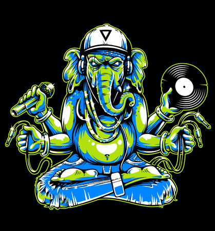 Ganesha with musical attributes: headphones, vinyl record, microphone and wires in hands. Ganesha b-boy weared in snapback and jeans. Cool vector illustration of ganesha. Toxic colors: green and blue variation.