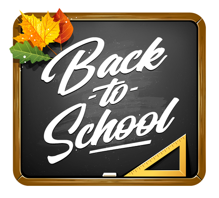 Back to school vector lettering on black chalkboard with autumn leaves. Back to School calligraphic typography on black chalkboard. Autumn season vector art isolated on white. .