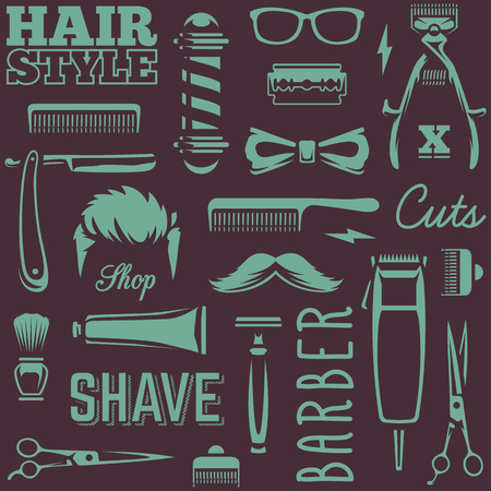 Barber Tools Seamless Texture. White barber tools on black background retro style vector art. Banco de Imagens - 111884966