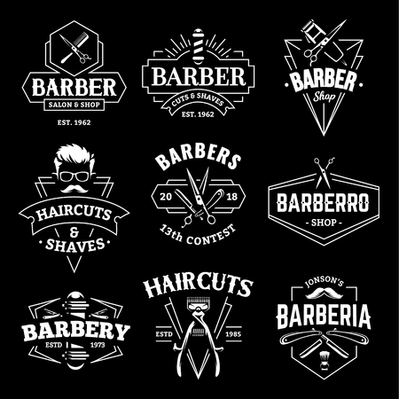 Barber Shop Retro Emblems in art deco style. Set of stylish barber logo templates. White monochrome vector art isolated on black.
