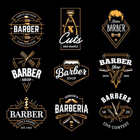 Barber Shop Retro Embleme im Art-Deco-Stil. Satz stilvolle Friseur-Logo-Vorlagen. Goldfarbenvektorkunst lokalisiert auf Schwarzem.