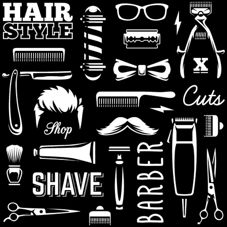 Barber Tools Seamless Texture. White barber tools on black background retro style vector art.