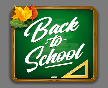 Back to school vector lettering on green chalkboard with autumn leaves. Back to School calligraphic typography on green chalkboard. Autumn season vector art.
