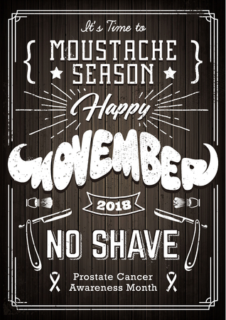 Movember Poster Vintage Design with different fonts and moustache shape lettering. Monochrome design with shaving attributes on wooded background.