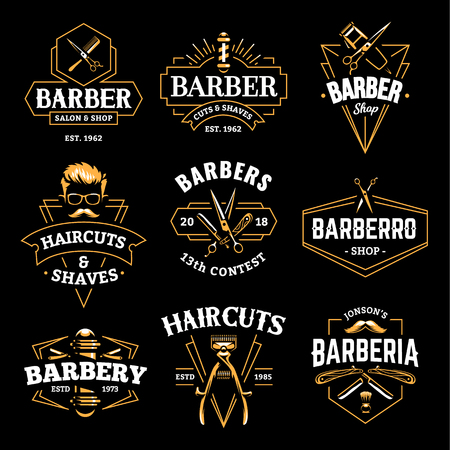 Barber Shop Retro Emblems in art deco style. Set of stylish barber logo templates. Gold color vector art isolated on black. Imagens - 112955825