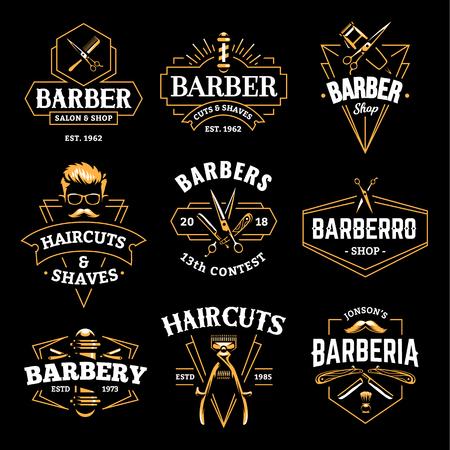 Emblemi retrò del negozio di barbiere in stile art deco. Set di modelli di logo elegante barbiere. Arte di vettore di colore dell'oro isolata sul nero.