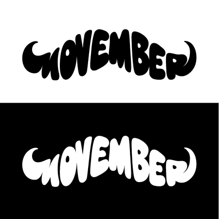 Movember Mustache Shape Vector Lettering isolated on white and black.