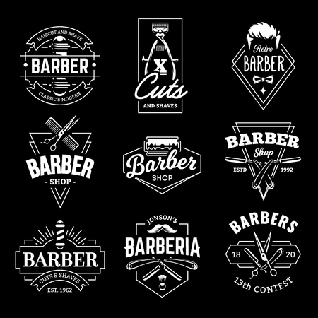 Barber Shop Retro Emblems in art deco style. Set of stylish barber logo templates. White monochrome vector art isolated on black. Archivio Fotografico - 112955823