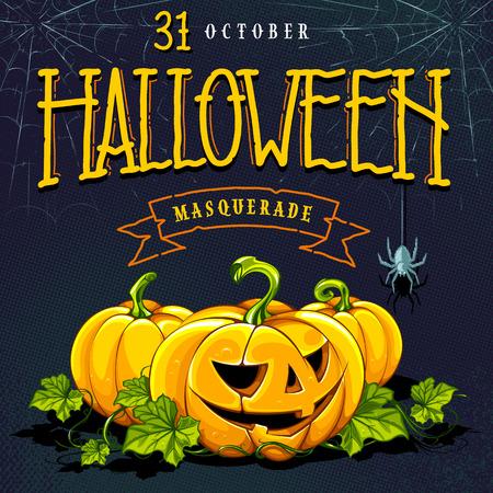 Halloween-kalligrafie en pompoenen op halftone retro achtergrond met webben. Retro stijl cartoon uitnodigingskaart ontwerp. Vector kunst.