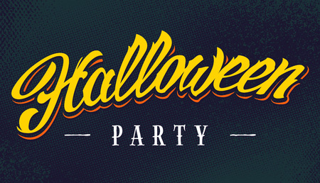 Halloween Party Vector Lettering on halftone retro background. Retro styled hand-drawn calligraphy 'Halloween Party'. Vector art.