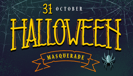 Halloween horizontal banner with hand-drawn lettering, web and spider on retro halftone background. Cartoon look halloween flyer. Vector art. Illustration