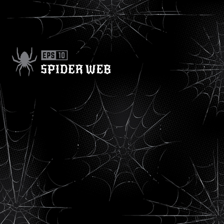 Vector set of spider webs on black halftone background. Hand-drawn spider webs. Vector arts.