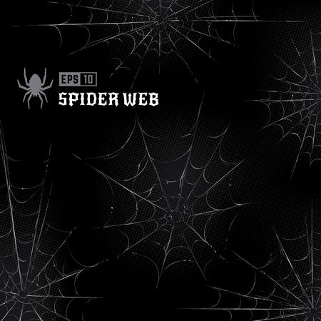 Vector set spinnenwebben op zwarte halftone achtergrond. Handgetekende spinnenwebben. Vector kunst. Vector Illustratie