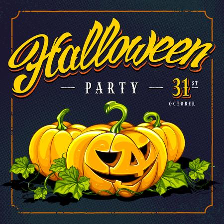 Halloween calligraphy and pumpkins on halftone retro background. Retro styled invitation card design.  Vector art. Ilustração