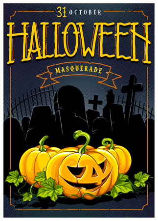 Halloween calligraphy and pumpkins on halftone retro background with graveyard stones. Retro style poster design template. Vector art.