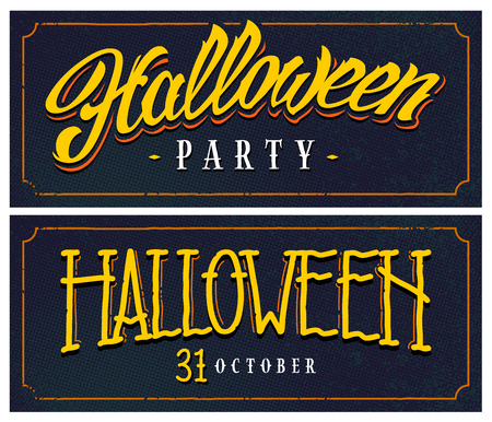 Halloween horizontal web banners with hand-drawn lettering on retro halftone backgrounds. Cartoon look halloween banners. Vector art.