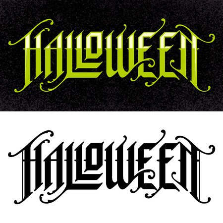 Halloween Hand-Drawn Gothic Lettering. Two variations: for white and dark background. Vector typography.