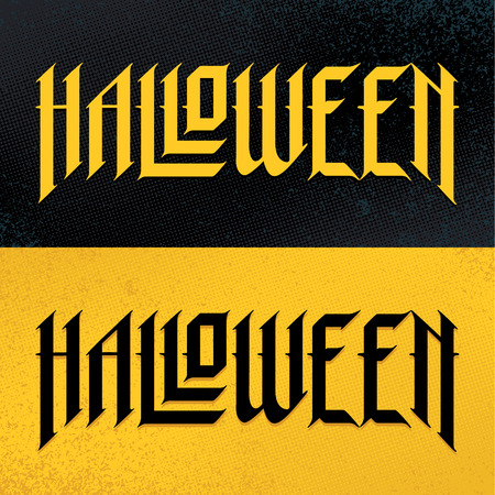 Halloween Hand-Drawn Gothic Lettering. Two variations: for light and dark background. Vector typography. 向量圖像