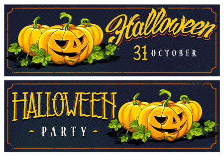 Halloween calligraphy and pumpkins on halftone retro background. Retro styled horizontal web banners designs.  Vector art. Ilustrace