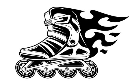 Burning roller skate in motion isolated on white. Black and white vector illustration.