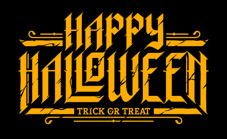 Happy Halloween Gothic Lettering yellow on black. Blackletter style cracked letters. Vector illustration.