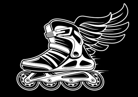 Inline-Rollschuh mit Flügel isoliert auf schwarz. Schwarz-Weiß-Vektor-Illustration.