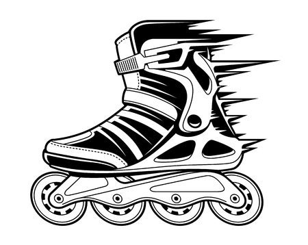 Inline roller skate with motion effect isolated on white. Black and white vector illustration.