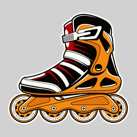 Inline roller skate extreme colors art on grey. Vector illustration.
